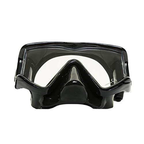 EVO Tiburon+ 3-Lens Panoramic Dive Mask with Purge Valve - Panoramic Diving Mask - Panoramic Diving Masks for Adults - Scuba Mask - Scuba Diving Mask - Freediving Mask (Black/Black)