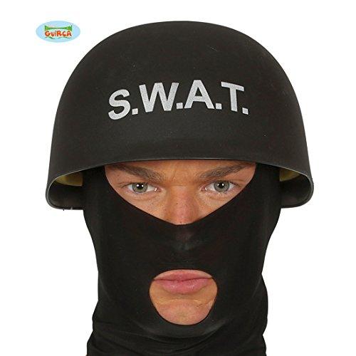 Amakando Polizeihelm - schwarz - SWAT Schutzhelm Polizei Ausrüstung Sondereinheit Einsatzhelm Spezialeinheit Kostüm Accessoire S.W.A.T. Helm