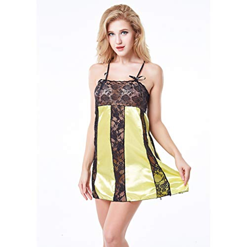 Wxxly Sexy Negligee Babydoll Nachtwäsche kurz Nachthemd Nachtkleid Reizwäsche Lingerie Sleepwear Kleid Dessous für Damen,Gelb,L