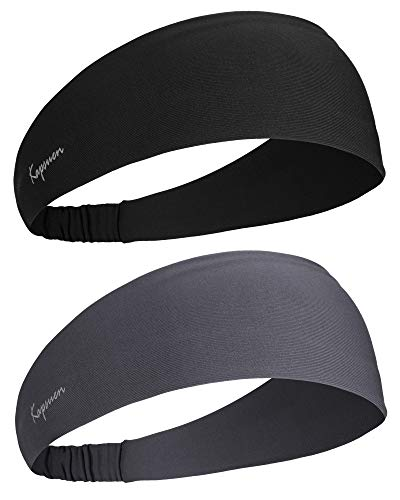 Sport Stirnband für Herren und Damen - Unisex Haarband Mode Stirnbänder Feuchtigkeitsableitendes Schweißband Anti Rutsch Elastisch Headband für Yoga, Wandern, Fahrrad, Tennisbälle(Schwarz-Grau)