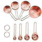 EElabper Tazas de medir Cucharas Conjunto de Acero Inoxidable con Grabado Marcado Regla para Hornear Cocinar Mezclar 8pcs de procesamiento de Alimentos de Oro Rosa