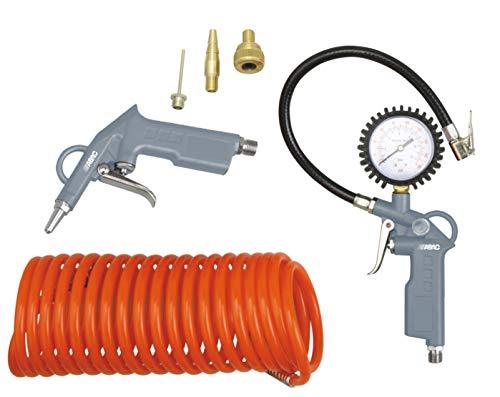 Kit de herramientas neumáticas ABAC de 6 piezas G-813 (Inflador de neumáticos con manómetro + pistola de aire + manguera en espiral + 3 puntas de inflado)