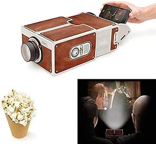 QuTess DIY Cardboard Smartphone Projector 3D Projector Cardboard Mini Smartphone Projector Light Novelty Adjustable Mobile Phone Projector Portable Cinema