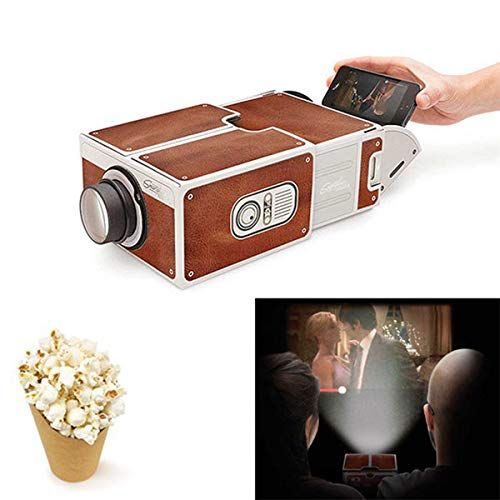 MeterMall DIY 3D Projector Cardboard Mini Smartphone Projector Light Novelty Adjustable Mobile Phone Projector Portable Cinema