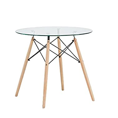 Green Forest Dining Table Round Clear Glass Table Modern Style Table for Kitchen Dining Room Coffee Table with Wood Legs
