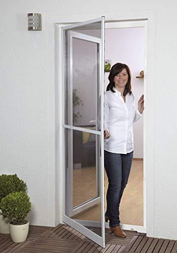 Insektenschutztür Fliegengitter Tür Insektenschutz SLIM Alurahmen 100 x 210 cm OHNE BOHREN (Rahmenfarbe anthrazit)