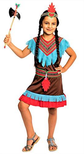 Magicoo braunes Indianer Kostüm Mädchen Kinder Gr 110 116 122 128 134 140 - Indianerin Kostüm Kind Fasching (134/140)
