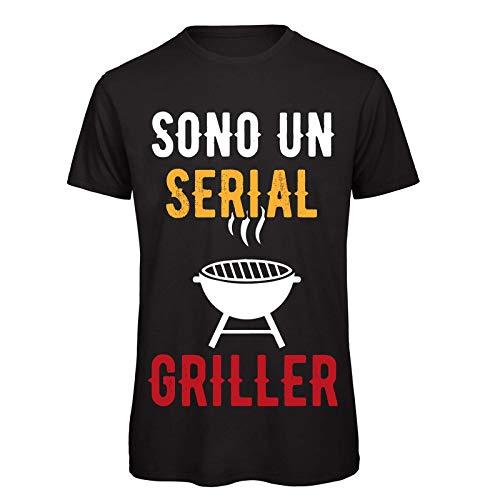 CHEMAGLIETTE! Maglietta Uomo T-Shirt Divertente con Stampa Ironica Sono Un Serial Griller Tuned, Colore: Nero, Taglia: XL