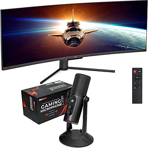 """Deco Gear 49"""" Curved Ultrawide E-LED Gaming Monitor, 32:9, Immersive 3840x1080, 144Hz, 3000:1, with PC Microphone for Gaming, Streaming, Singing, Recording, and Meetings, Features RGB Lighting"""