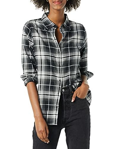 Amazon Essentials Long-Sleeve Classic-Fit Lightweight Flannel Shirt Athletic, Plaid dégradé Noir et Blanc, 36-38