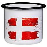 Dänemark Becher - Hochwertige Emaille Tasse mit Dänemark Flagge, leicht & bruchsicher, für Camping & Outdoor Fans - von MUGSY.de