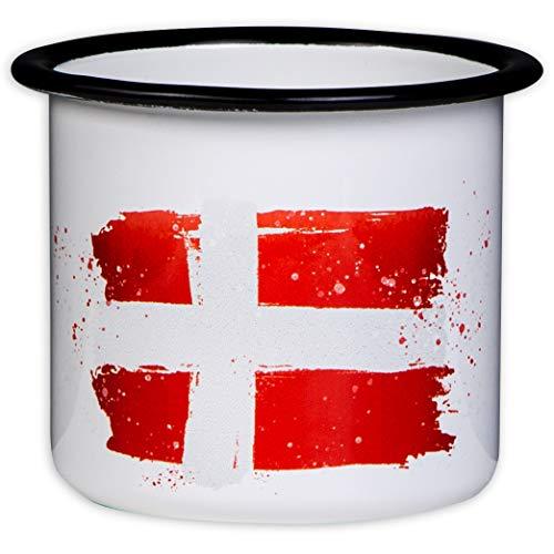 MUGSY.de Denemarken beker - hoogwaardige email mok met vlag van Denemarken, licht en onbreekbaar, voor camping en outdoor fans