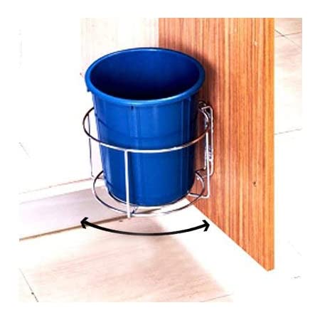 Plantex High Grade Stainless Steel Bin Holder/Dust Bin Holder/Modular Kitchen Fixture (Dia 10 Inches), Silver