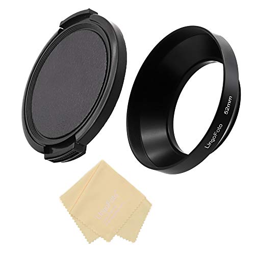 Campana de lente de 52 mm de metal gran angular para objetivo Canon Fuji Leica Leitz Nikon, Olympus, Panasonic, Pentax, Sony, 52 mm, con tapa de lente de 72 mm