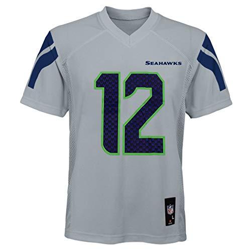 Fan #12 Seattle Seahawks Gray Youth Alternate Mid Tier Jersey (Large 14/16)