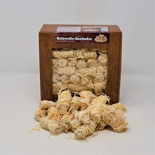 Landree® Holzwolle-Anzünder 1Kg Kamin-Anzünder für Grill Smoker Kamin Ofen Holz/Anzündwolle (1 KG) / 100% ÖKO Holz-Wolle aus Natur-Wachs Brennstoffe Umweltfreundlich Sicher (1KG)