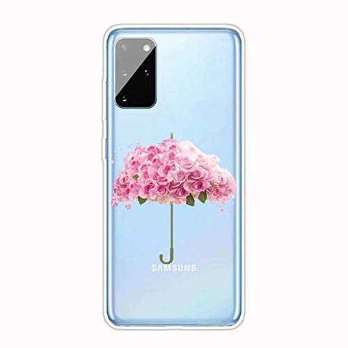 Miagon Transparent Hülle für Samsung Galaxy A51,Rosa Rose Muster Kreativ Süße Durchsichtig Klar Soft Ultra Dünn Silikon Case Cover Schutzabdeckung