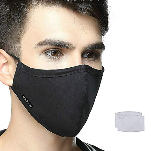 Face Mask with 2 Filters, Anti Dust Anti-Haze Cotton Mask Breathable Balaclavas for Cycling Camping Running Travel Men Black (1 Mask+2 Filter)