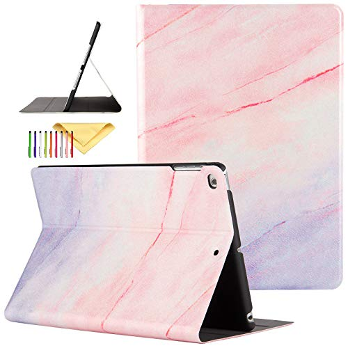 iPad 9.7 inch 2017/2018 Case/iPad Air/Air 2 Cover, Uliking [Marble Map Series] PU Leather Shockproof Shell Stand Smart Cover with Auto Wake/Sleep for iPad 5th/6th Gen/iPad Air 1/2, Pink/Purple Marble
