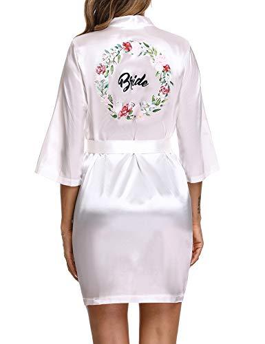 Aibrou Kimono Damen Morgenmantel Kurz Satin Sexy 3/4 Ärmel Bademantel mit Taschen Kurz Robe V Ausschnitt mit Gürtel für Party Hochzeit Braut Brautjungfern