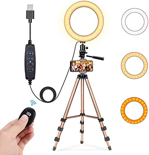 8 Selfie Ring Light with 50 Extendable Tripod Stand & Cell Phone Holder for Live Stream/Makeup, Fostoy Mini Desktop Led Camera Ringlight for YouTube Video, Compatible with iPhone/Android