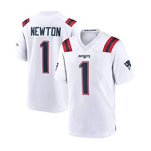 Cam Newton # 1 New England Patriots Herren Rugby Jersey Fußballtrikot, Stickerei Kurzarmspiele Trining Sport Unisex Fans Trikots Atmungsaktives T-Shirt Wiederholbare Reinigung-White -M
