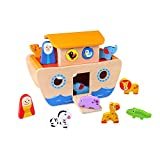 Tooky Toy TKC304 - Arca di Noè in legno con figure di animali, copertura smontabile e slot adattano