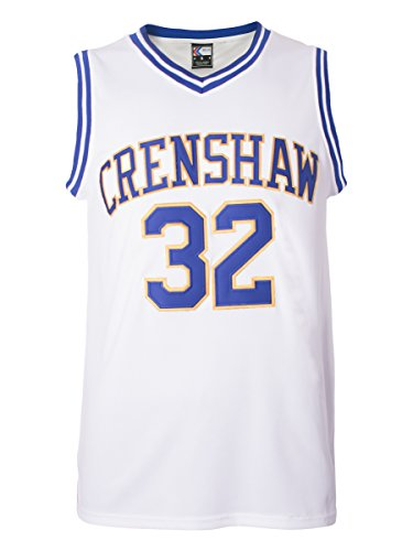 MOLPE Wright 32 Crenshaw Basketball Jersey S-XXXL, 90S Hip Hop Clothing for Party, 2-Layer Stitched Letters and Numbers (White,S)
