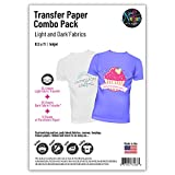 NuFun Activities Inkjet Printable Iron-On Heat Transfer Paper, Light and Dark Combo Pack, 8.5 x 11 inch, 25 Sheets Light/25 Sheets Dark