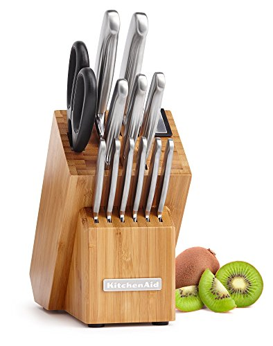 KitchenAid KKFSS14BO 14 Piece Classic Forged Series Brushed Stainless Steel Cutlery Set, Bamboo Wood