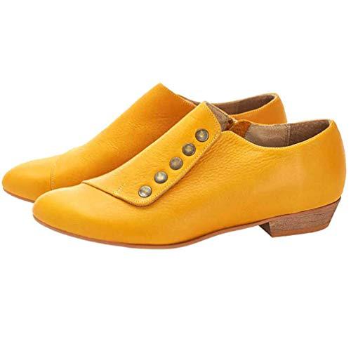 WggWy Zapatos De Tobillo del Cuero del Remache De Las Mujeres, De Peso Ligero Tacón Bajo En Punta Zapatos De Moda Zapato Suave Y Transpirable Ciclismo,Amarillo,40