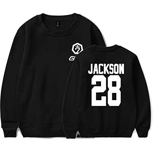ZIGJOY JPY GOT7 Rundhalspullover Album Keep Spinning Top Sweatshirt Jumper Jackson JB Mark Youngjae Bambam Yugyeom Hoodie für Fans JK Black 2XL