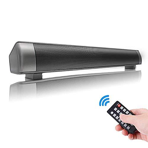 DBGS soundbar met afstandsbediening, ondersteunt TF-kaart, 3,5 mm audio-jack en oplaadaansluiting, stereo-audio, lange standby-tijd voor smartphones, tablets, projectoren