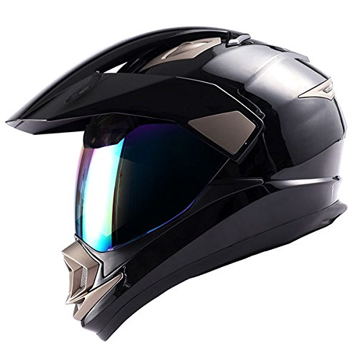 Dual Sport Helmet Motorcycle Full Face Motocross Off Road Bike Glossy Black,Size Large