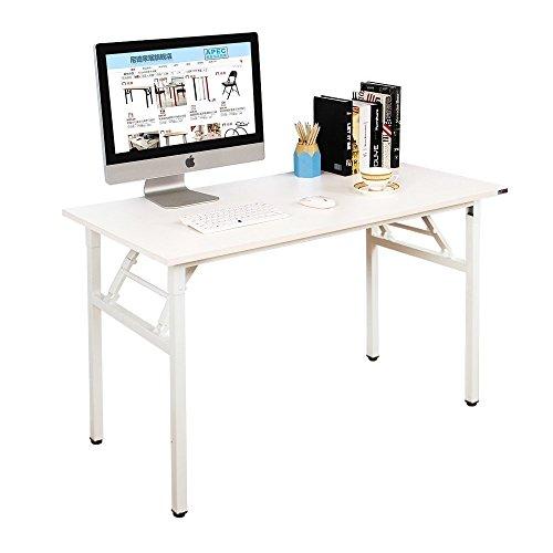 DlandHome Mesa Plegable Mesa de Ordenador Escritorio de Oficina 120x60cm Mesa de Estudio Puesto de Trabajo Mesas de Recepción Mesa de Formación,Blanco