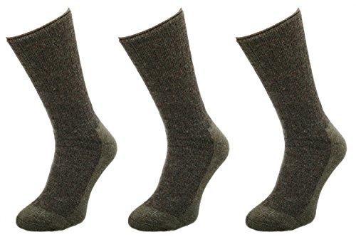 Comodo Calcetines de Caza de Merino Hombres y Mujeres | 3 Pares de Calcetines de Caza de Lana de Merino | Khaki | Tamaño: 43-46