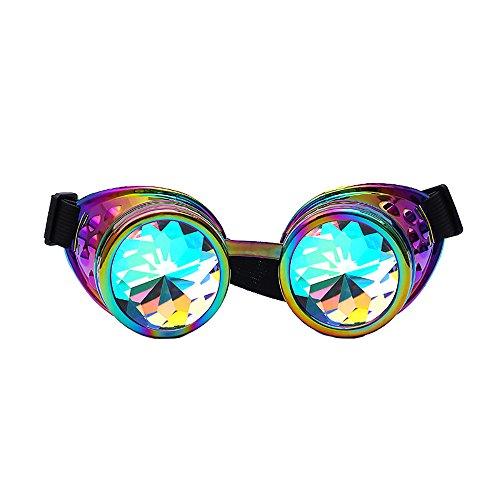 Steampunk Accessoires Brille UFODB Damen Schutzbrillen Schweisserbrille Schleifbrille Schraubbar Goggles Vintage Style Schweißpunk Gläser Runde Polarisierte Sonnenbrille