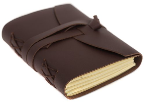 """INDIARY FIRST Pocket Journal Diary Luxury Buffalo Leather 100% Handcrafted Cotton Paper 5x4"""" - A6 - Brown"""