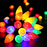 RECESKY C7 Christmas String Lights - 50 LED 24Ft Outdoor Smooth Bulb Light with 30v Adaptor, Extendable 8 Modes Fairy Lighting for Patio Yard House Xmas Garland Christmas Tree Decorations, Multi Color