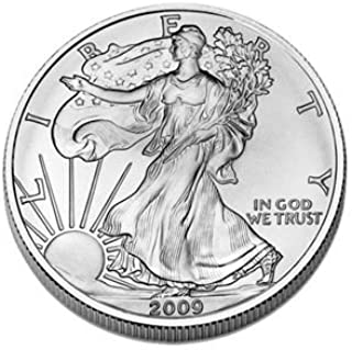 SET of (5) Silver American Eagles 2009, 2010, 2011, 2012, AND 2013 Brilliant Uncirculated Gems Collectible US Coins .999 Fine Silver 5 Oz $1