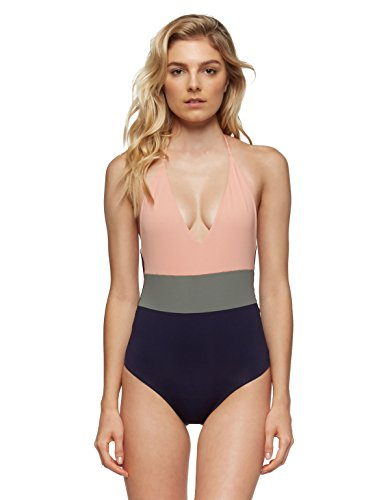 Tavik Womens Chase Color Blocked One-Piece Swimsuit Desert Clay Size Large