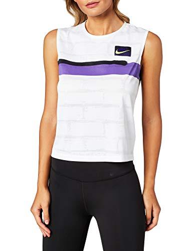 Nike Damen Nikecourt Slam Tanktop, Weiß/Court Purple/Schwarz/Volt, S