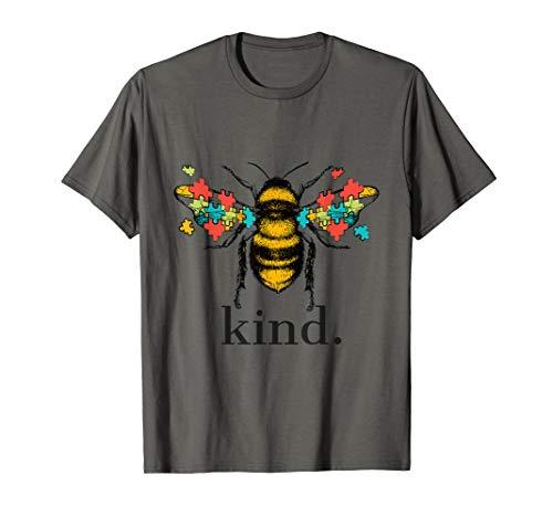Autism Awareness Bee Kind Puzzle Pieces T Shirt
