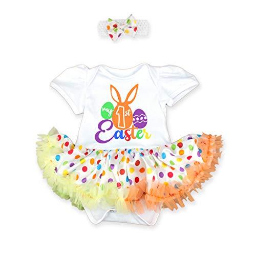 FYMNSI Conjunto de disfraz de Pascua para recin nacido, con estampado de huevo de conejo, con diadema, accesorio para fotos, regalo para fiesta de 0 a 18 meses