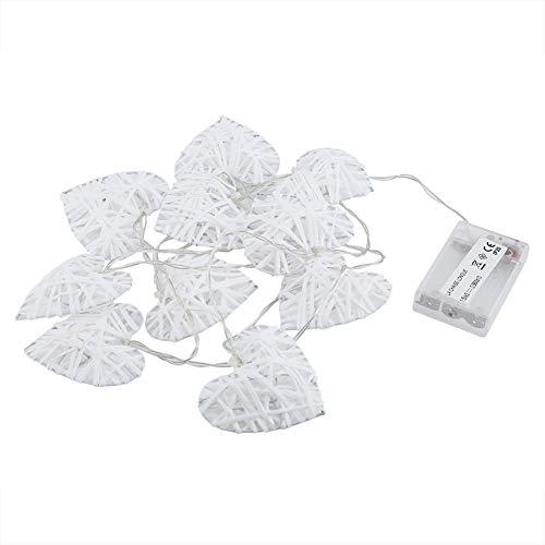 Romántica luz de ratán, 7 x 7 cm de ratán, 3 pilas AA con forma de corazón, lámpara de ratán, fabricada en ratán.