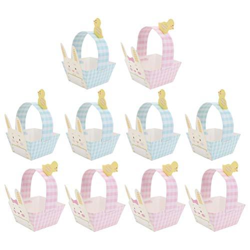 TOYANDONA 15pcs Canastas de Dulces de Pascua Cestas de Papel de Conejo Encantador Contenedores de Papel de Bricolaje