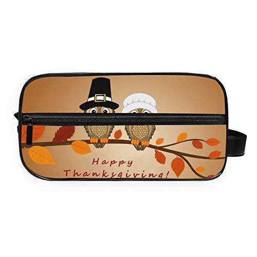 LUPINZ Happy Thanksgiving Mignon chouette Trousse de toilette de voyage Sac de rangement pour salle de bain