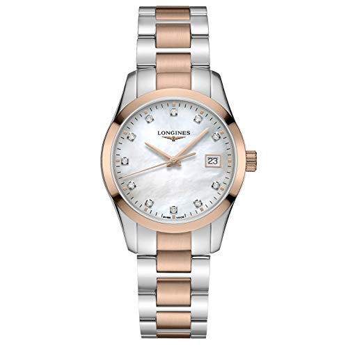 Longines orologio Conquest Classic 34mm madreperla diamanti quarzo acciaio finitura PVD oro rosa L2.386.3.87.7