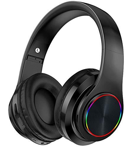 Auriculares Bluetooth Auriculares inalámbricos Plegables para Colocar sobre la Oreja con micrófono LED, Auriculares con Cable e inalámbricos para teléfonos Inteligentes/TV/PC(B16)