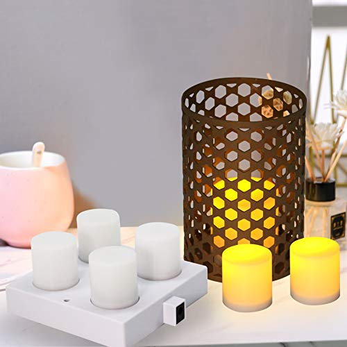 LED Candle Lights Set ,Realistic Flickering Flameless LED Decorative Tea Light with 4 Round Iron Frames,USB Charging Mood Light for Wedding Parties Events and Table Bars